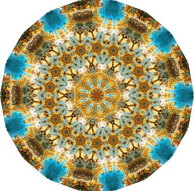 Blue Gold Kaleidoscopic Mandala Poster