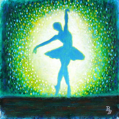 Poster featuring the painting Blue-green Ballerina by Bob Baker