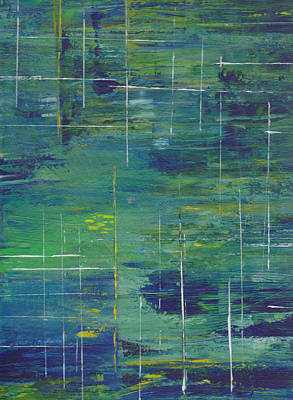 Blue Green Yellow Abstract  Poster by Patricia Cleasby