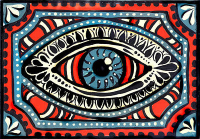 Poster featuring the painting Blue Gypsi Eye by Nada Meeks