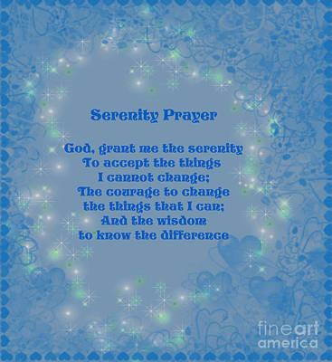 Blue Hearts Serenity Prayer Poster by Smilin Eyes  Treasures