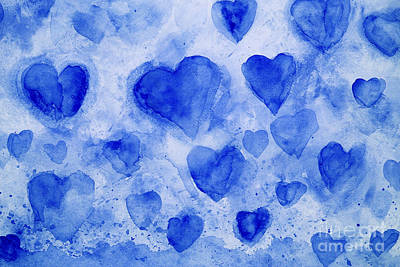 Blue Hearts Poster by Stella Levi