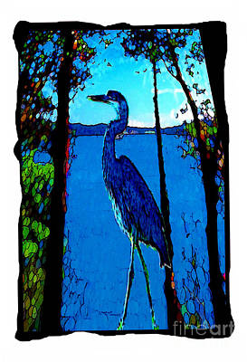 Blue Heron Art Print Poster by Susan Rothschild