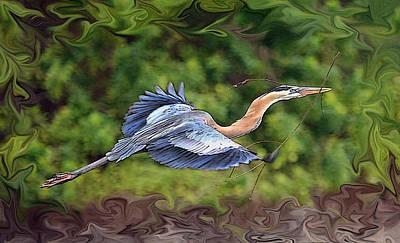 Poster featuring the photograph Blue Heron Flight by Shari Jardina
