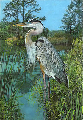 Poster featuring the painting Blue Heron by John Dyess