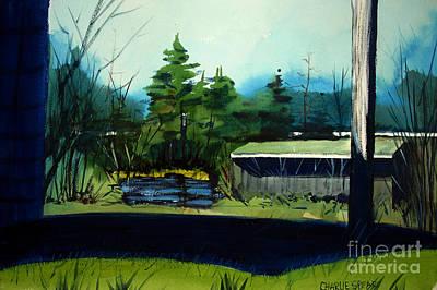 Blue Heron Lake Matted, Framed, Glassed Poster