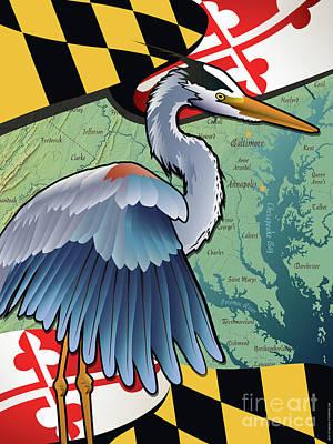 Blue Heron Of Maryland Poster by Joe Barsin