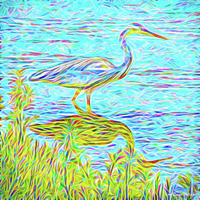 Blue Heron Reflections - Lake In Boulder County Colorado Poster
