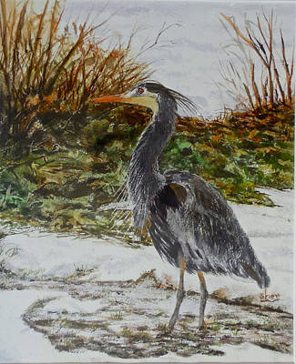 Poster featuring the painting Blue Heron by Sher Nasser