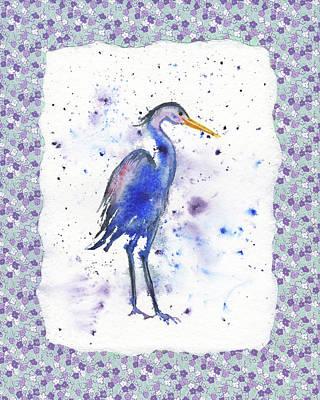 Blue Heron Watercolor Poster