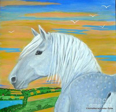 Blue Horse Poster by Anna Folkartanna Maciejewska-Dyba