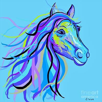Blue Horse Poster by Eloise Schneider