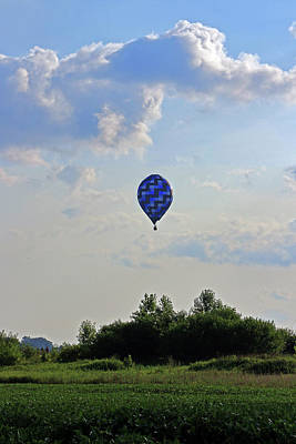 Poster featuring the photograph Blue Hot Air Balloon by Angela Murdock