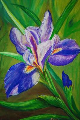 Poster featuring the painting Blue Iris by Debbie Baker