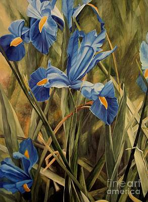 Poster featuring the painting Blue Iris by Laurie Rohner
