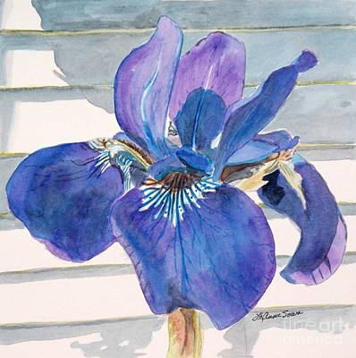 Poster featuring the painting Blue Iris by LeAnne Sowa