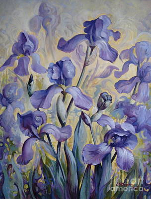 Blue Irises Poster by Elena Oleniuc
