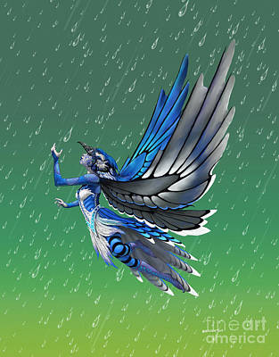 Poster featuring the digital art Blue Jay Fairy by Stanley Morrison