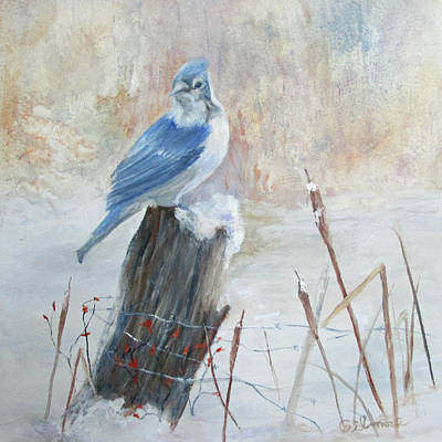 Poster featuring the painting Blue Jay In Winter by Roseann Gilmore