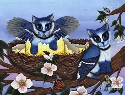 Poster featuring the painting Blue Jay Kittens by Carrie Hawks