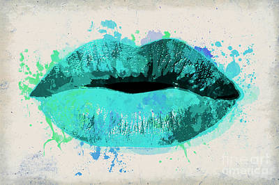 Blue Kiss Watercolor Poster by Delphimages Photo Creations