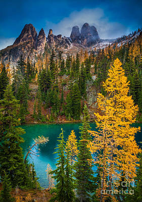 Blue Lake And Early Winter Spires Poster by Inge Johnsson