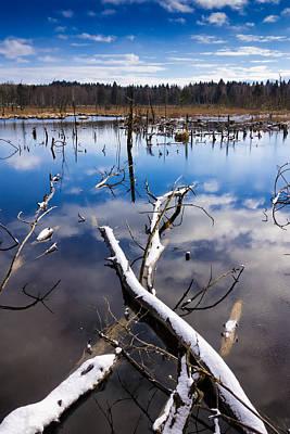 Blue Lake And Sky In Winter Schwenninger Moos Poster by Matthias Hauser