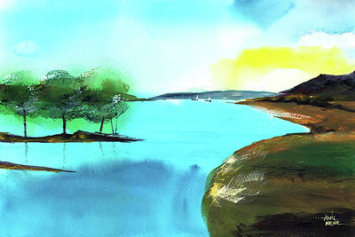 Poster featuring the painting Blue Lake by Anil Nene