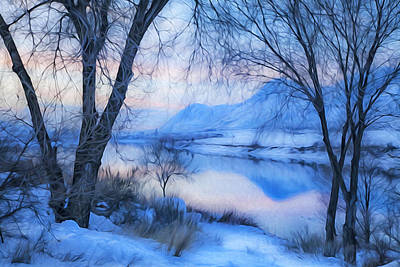 Blue Landscape Poster by Theresa Tahara