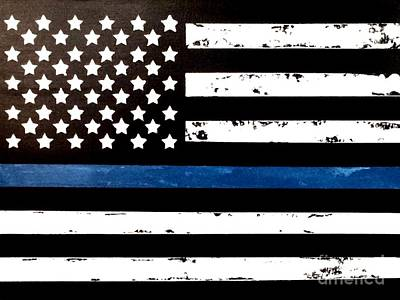 Poster featuring the painting Blue Line Flag by Denise Tomasura