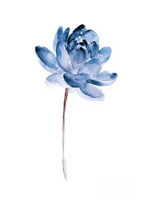 Blue Lotos Flower Girls Room Decor Poster