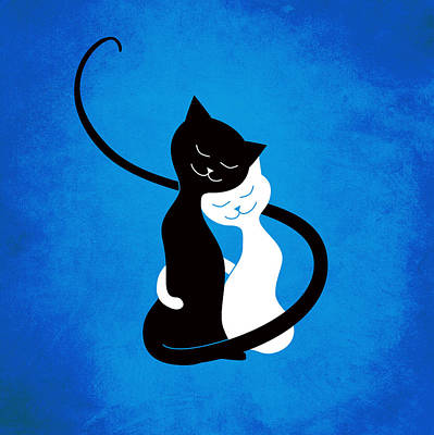 Blue Love Cats Poster