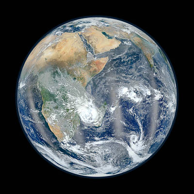 Blue Marble 2012 - Eastern Hemisphere Of Earth Poster by Nikki Marie Smith