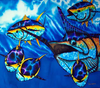 Blue Marlin And Yellowfin Tuna Poster by Daniel Jean-Baptiste