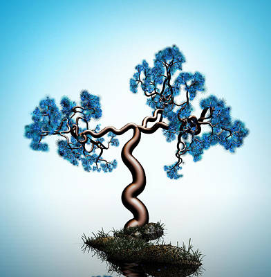 Blue Math  Tree Poster by GuoJun Pan