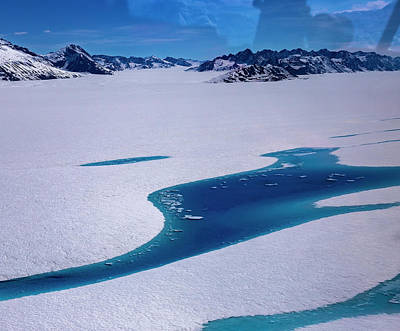 Poster featuring the photograph Blue Meltwater Lake  by Fred Denner