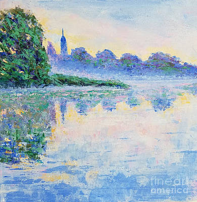 Blue Mist Over The River Poster by Olga Malamud-Pavlovich