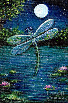 Poster featuring the painting Blue Moon Dragonfly by Sandra Estes