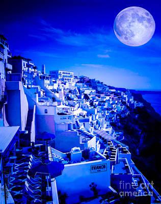Blue Moon Over Fira Santorini Poster