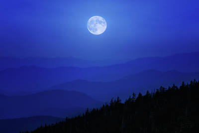 Blue Moon Over Smoky Mountains Poster