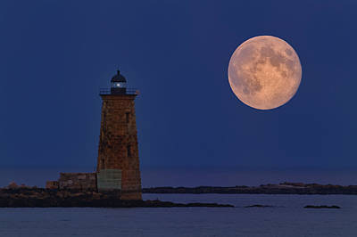 Blue Moon Over Whaleback Lighthouse Poster