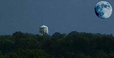 Blue Moon Over Zanesville Water Tower Poster