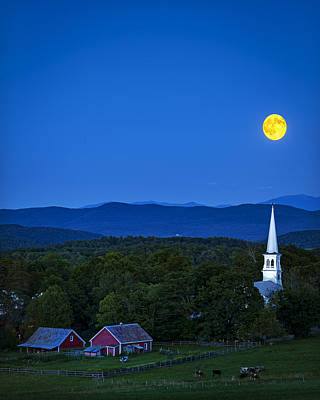 Blue Moon Rising Over Church Steeple Poster