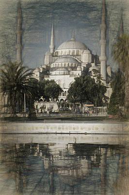 Blue Mosque - Vintage Blue Sketch Poster