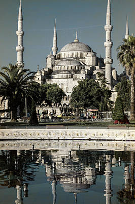Blue Mosque - Vintage Blue Poster by Stephen Stookey