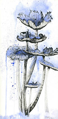 Blue Mushrooms Poster by Emily Magone