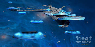 Blue Nebula Expanse Poster by Corey Ford