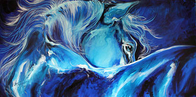 Blue Night Abstract Equine Poster