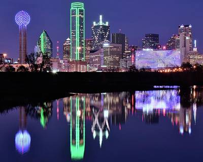 Poster featuring the photograph Blue Night And Reflections In Dallas by Frozen in Time Fine Art Photography