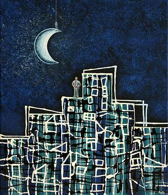 Blue Night Poster by Graciela Bello